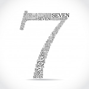 number seven created from text